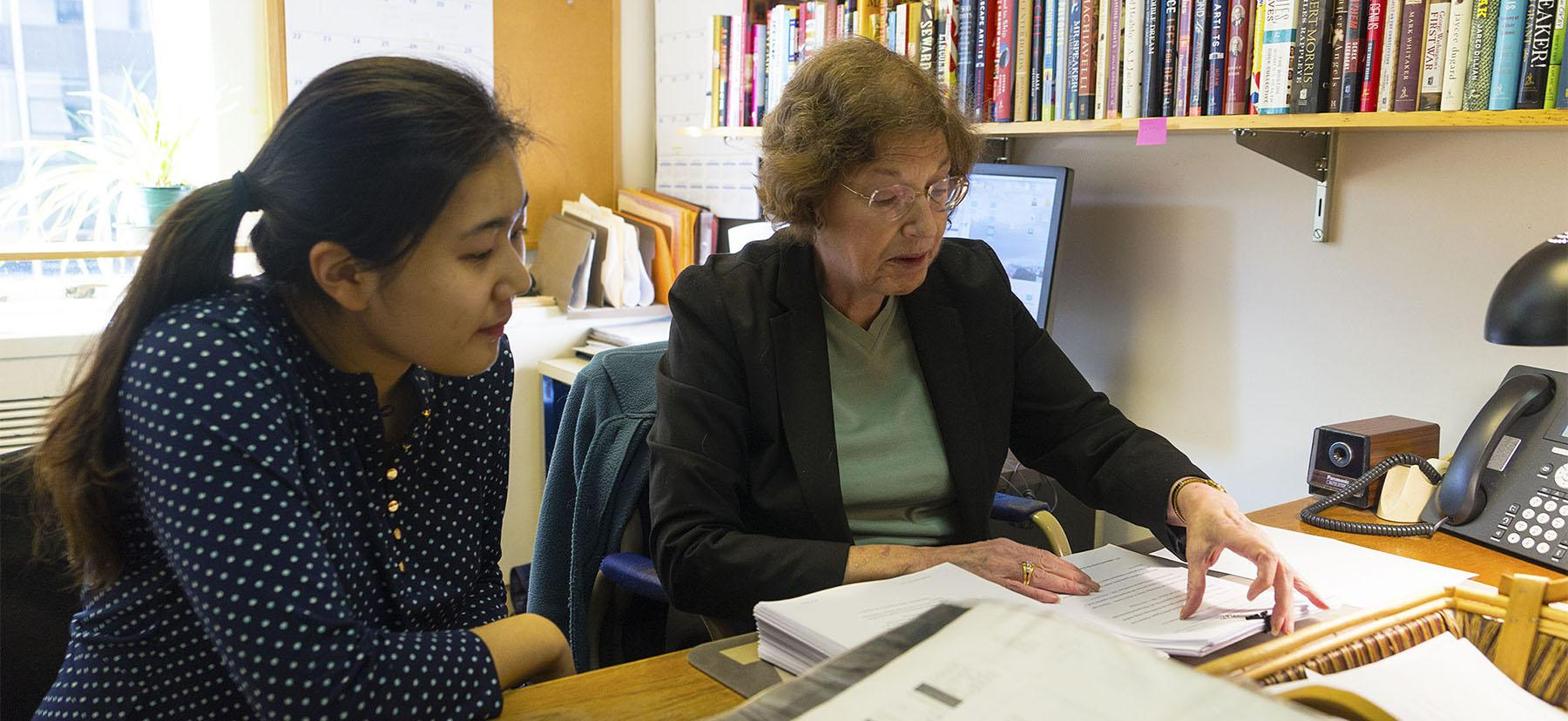 Jenny Ahn '17 shadowing Lisa Healy BMC '73, a senior production editor at Simon & Schuster in New York City.