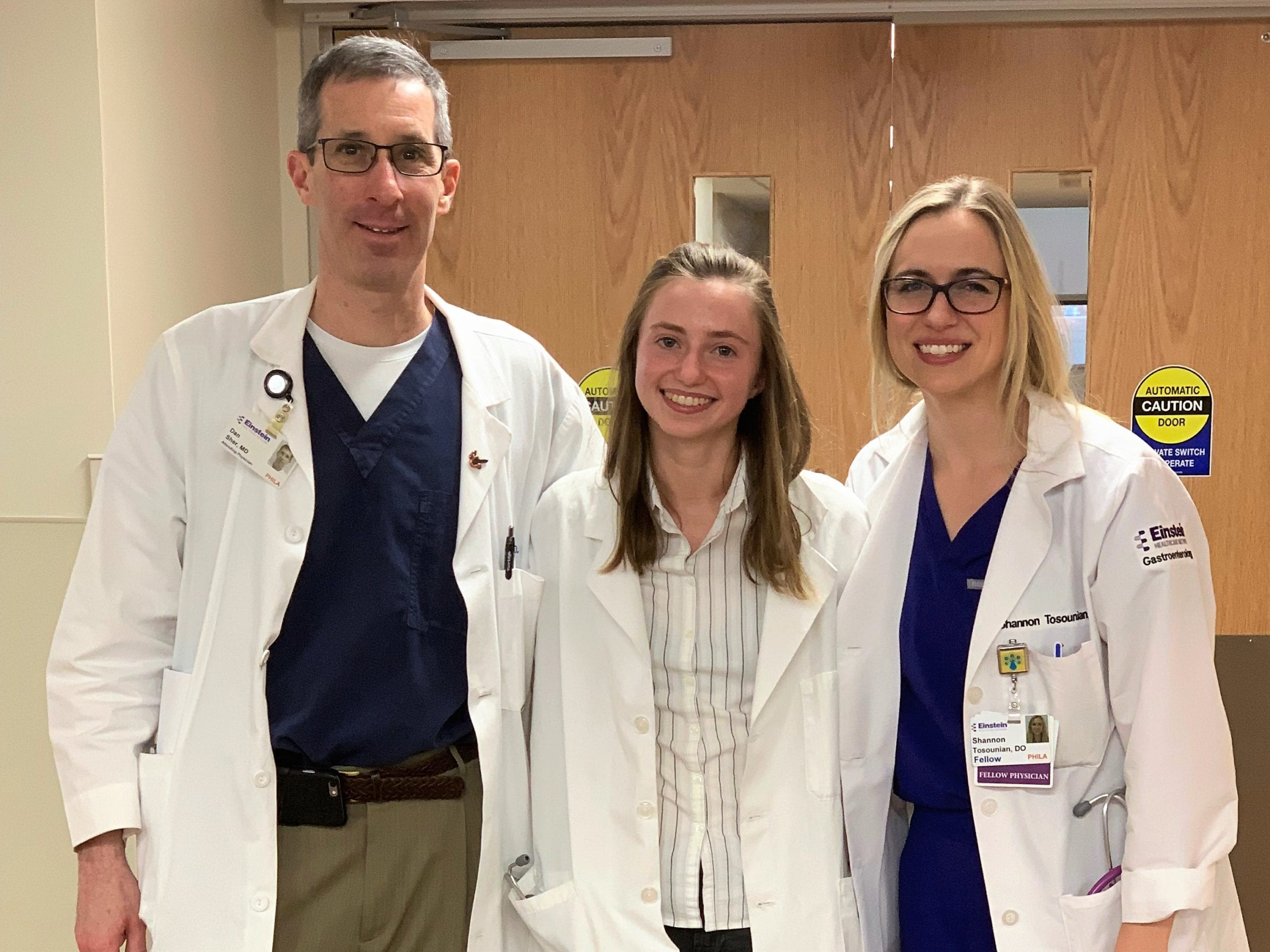 Griffin Kaulbach with extern sponsor, Dr. Dan Sher '85, and his fellow physician Shannon Tosounian at Einstein Medical Center in Philadelphia.
