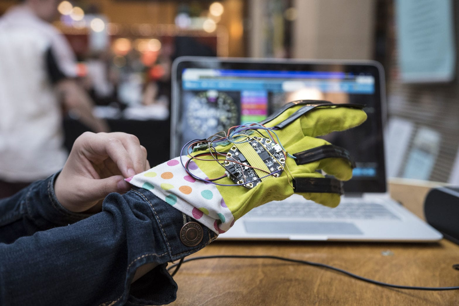 Someone pulling on a VR glove