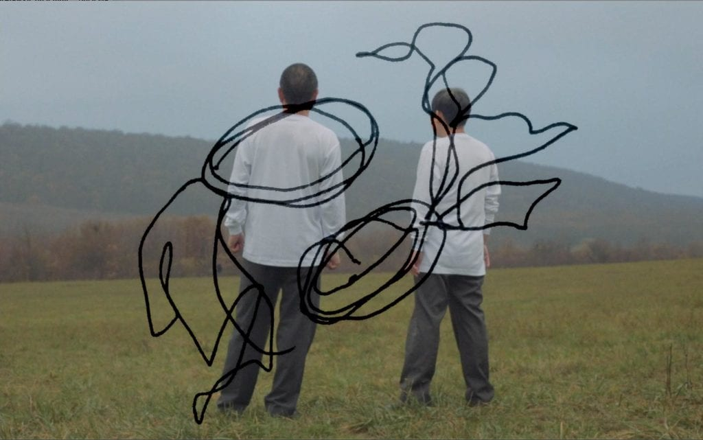 two people standing in a field with scribbles super imposed over them