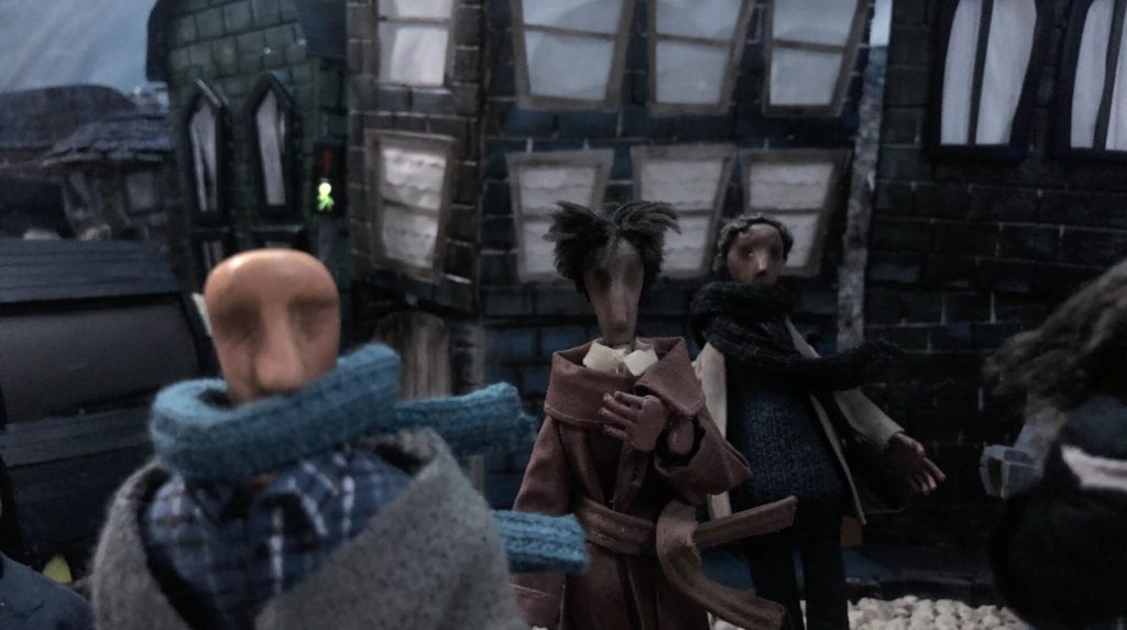 CGI characters with buildings and windows in the background